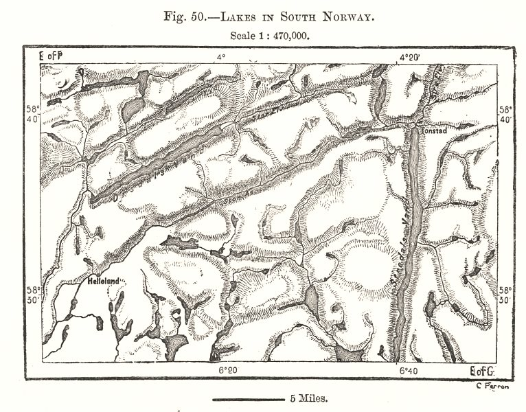 Associate Product Lakes in South Norway. Sketch map 1885 old antique vintage plan chart