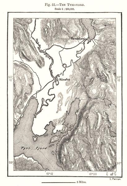 Associate Product The Tyri-Fiord. Tyrifjorden. Hønefoss Honefoss. Norway. Sketch map 1885