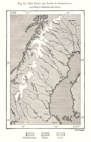 Associate Product The Finns & Lapps in Scandinavia per Dahlman & others. Sketch map 1885 old