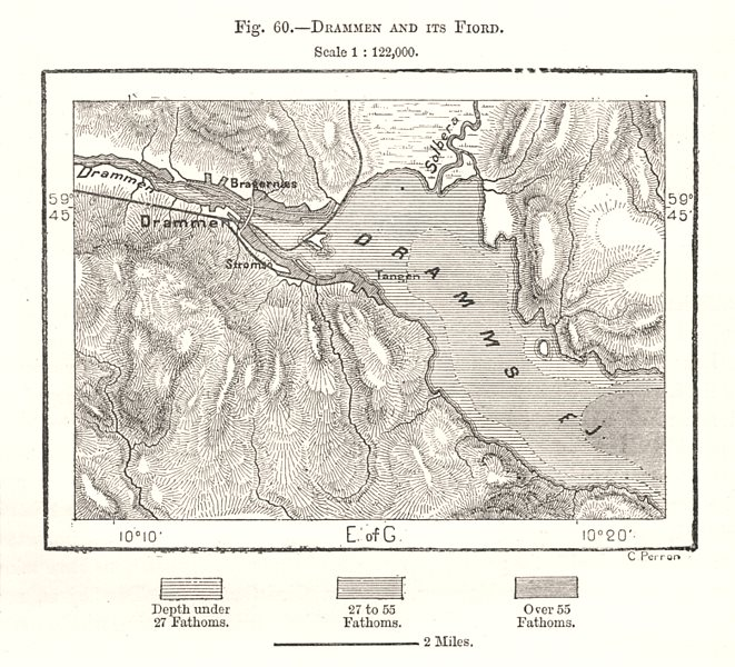 Associate Product Drammen and its Fiord. Drammensfjorden. Norway. Sketch map 1885 old