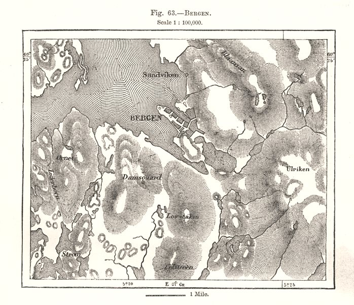 Associate Product Bergen & environs. Norway. Sketch map 1885 old antique vintage plan chart