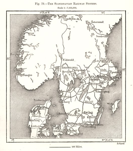 Associate Product The Scandinavian Railway Systems. Sweden. Sketch map 1885 old antique