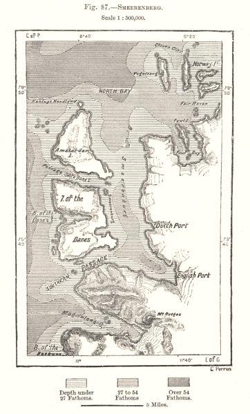 Associate Product Smeerenburgbreen Svalbard Spitsbergen Norway. Sketch map 1885 old antique
