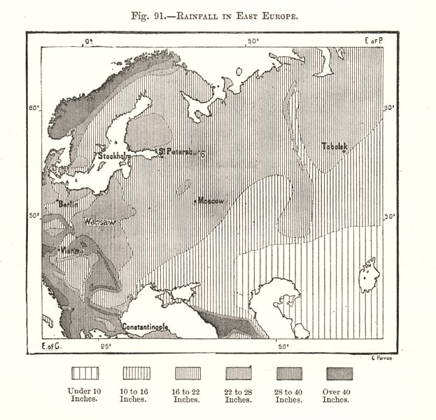 Associate Product Rainfall in East Europe. Russia. Sketch map 1885 old antique plan chart