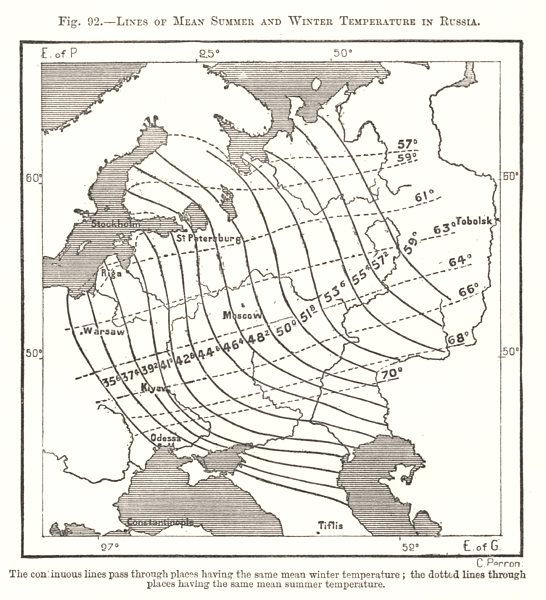 Associate Product Lines of Mean Summer and Winter Temperature in Russia. Sketch map 1885 old
