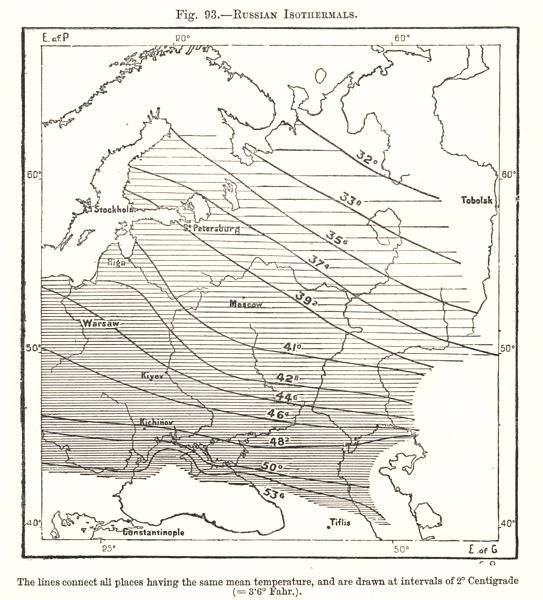 Associate Product Russian Isothermals. Sketch map 1885 old antique vintage plan chart