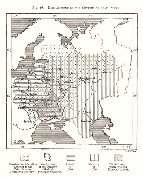 Associate Product Displacement of the Centres of Slav Power. Russia. Sketch map 1885 old