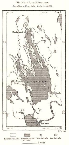 Associate Product Lake Hoytiainen. Höytiäinen. Finland. Sketch map 1885 old antique chart