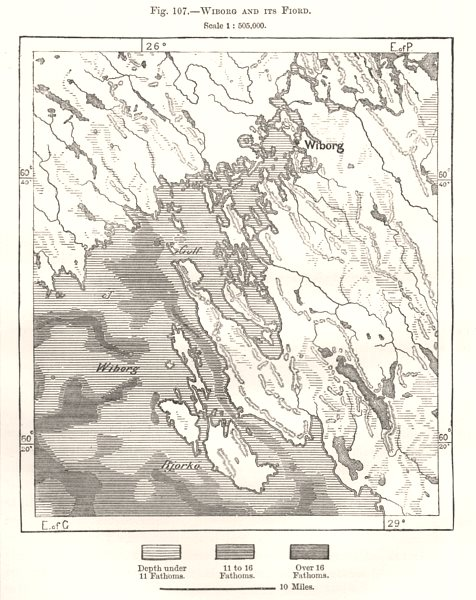 Associate Product Vyborg and its Fiord. Russia. Sketch map 1885 old antique plan chart