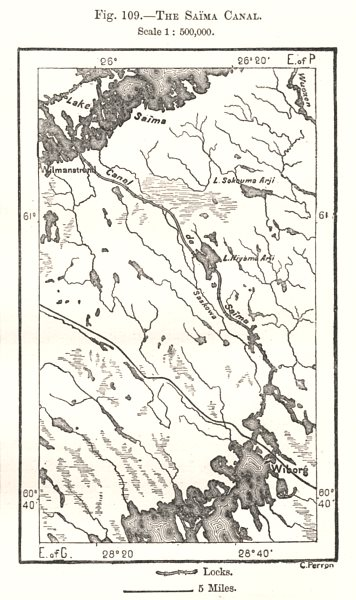 Associate Product The Saimaa Canal. Russia. Sketch map 1885 old antique vintage plan chart