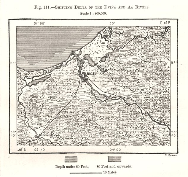 Associate Product Shifting Delta of the Dvina & Aa Rivers. Riga. Latvia. Sketch map 1885 old