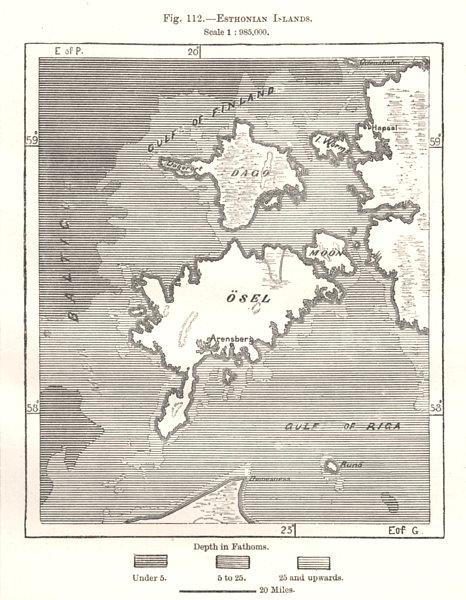 Associate Product Estonian Islands. Estonia. Hiiumaa Saaremaa. Sketch map 1885 old antique