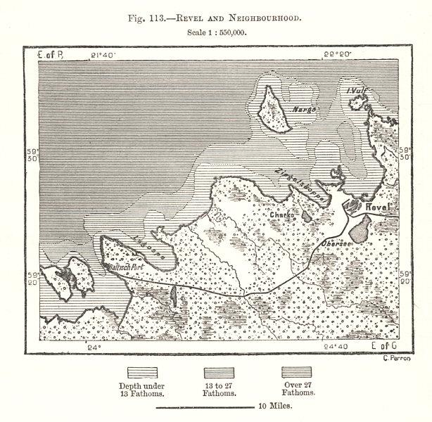 Associate Product Tallinn and Neighbourhood. Estonia. Sketch map 1885 old antique plan chart