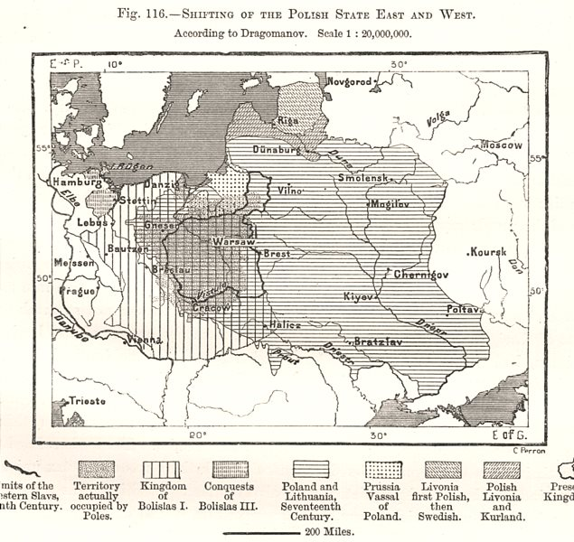 Associate Product Shifting of the Polish State East & West. Dragomanov. Poland. Sketch map 1885