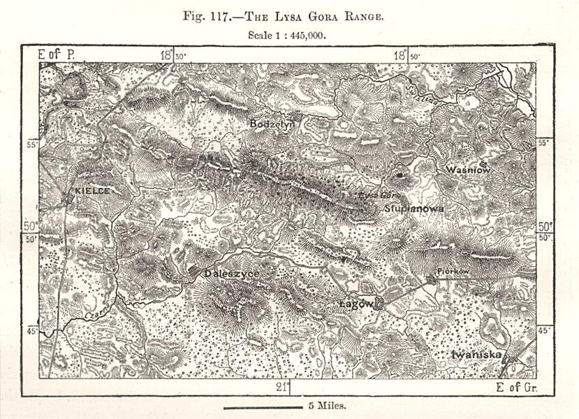 Associate Product The Lysa Gora Range. Poland. Kielce Bodzentyn. Sketch map 1885 old antique