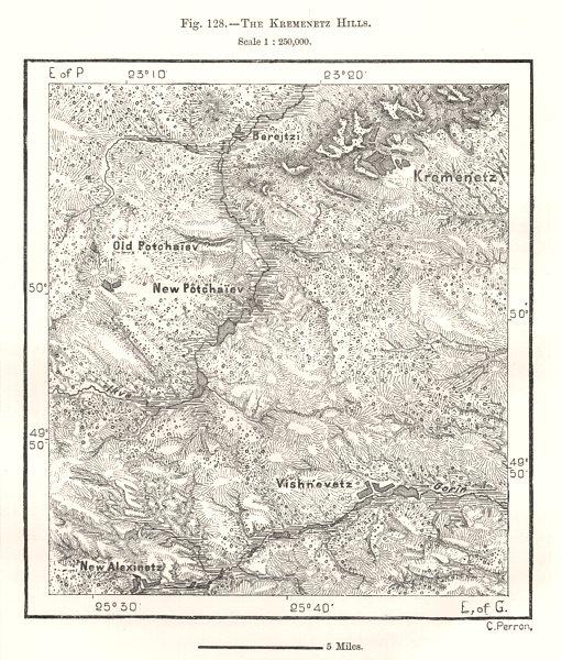 The Kremenets Hills. Ukraine. Sketch map 1885 old antique plan chart