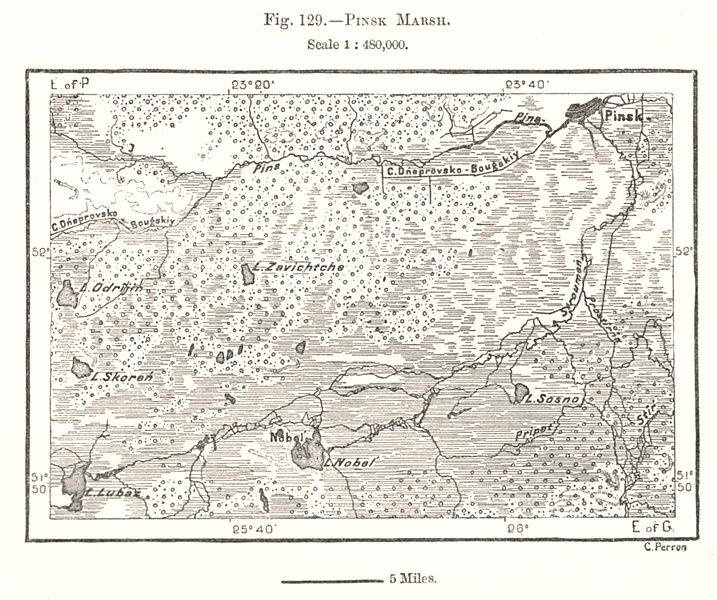 Associate Product Pinsk Marsh. Belarus. Sketch map 1885 old antique vintage plan chart