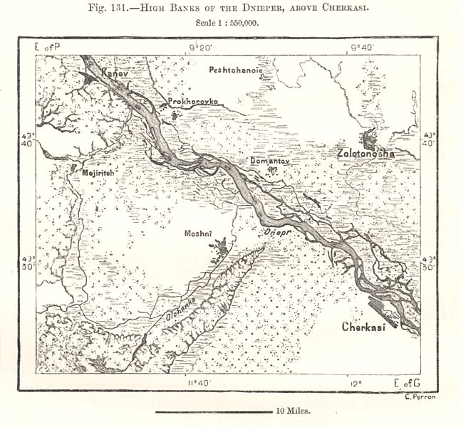 Associate Product High Banks of the Dnieper, above Cherkasy. Ukraine. Sketch map 1885 old