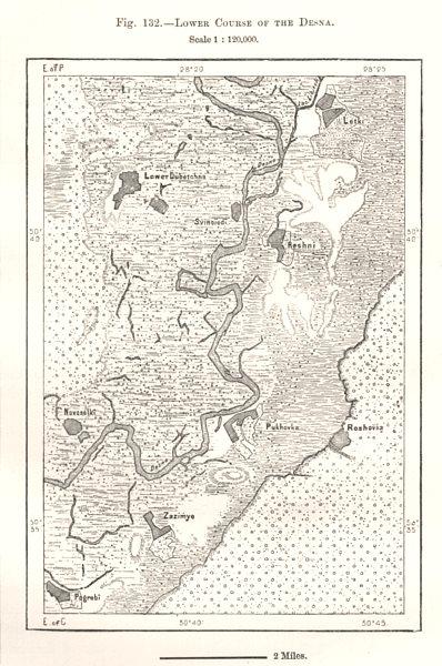 Associate Product Lower Course of the Desna. Litky Rozhny Pukhivka. Ukraine. Sketch map 1885