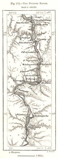 Associate Product The Dnieper Rapids. Ukraine. Sketch map 1885 old antique plan chart