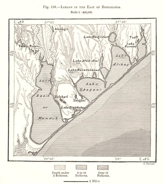 Associate Product Limans in the East of Bessarabia. Tuzlovski Lagoons. Ukraine. Sketch map 1885