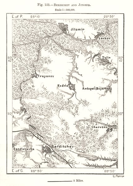 Associate Product Berdychiv and Zhytomyr. Ukraine. Sketch map 1885 old antique plan chart