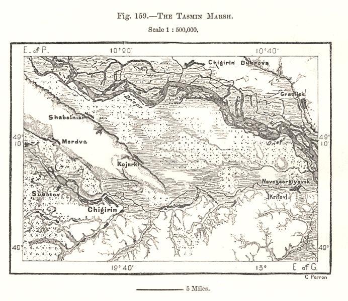 Associate Product The Tasmin Marsh. Chyhyryn. Dnieper. Ukraine. Sketch map 1885 old antique