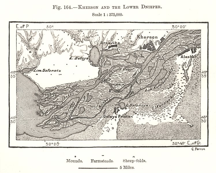 Associate Product Kherson and the Lower Dnieper. Ukraine. Sketch map 1885 old antique chart