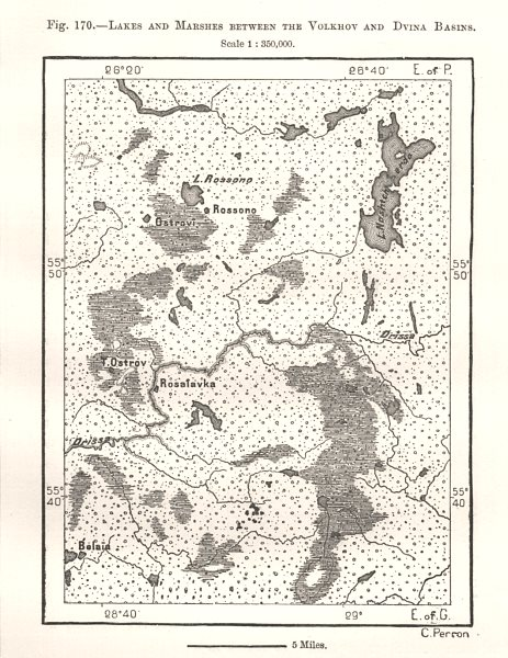 Associate Product Lakes & Marshes Between the Volkhov & Dvina Basins. Belarus. Sketch map 1885