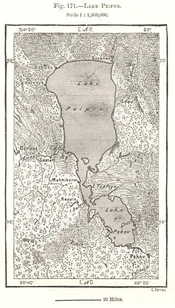 Associate Product Lake Peipus. Estonia. Sketch map 1885 old antique vintage plan chart