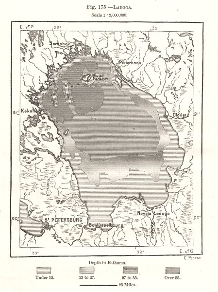 Associate Product Ladoga. Russia. Sketch map 1885 old antique vintage plan chart