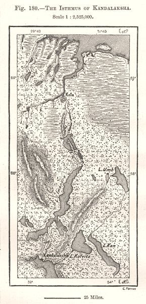 Associate Product The Isthmus of Kandalaksha. Russia. Sketch map 1885 old antique plan chart