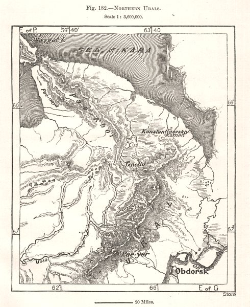 Northern Urals. Russia. Kara Sea. Sketch map 1885 old antique plan chart