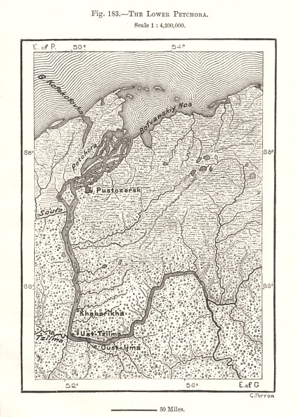Associate Product The Lower Pechora. Russia. Sketch map 1885 old antique vintage plan chart
