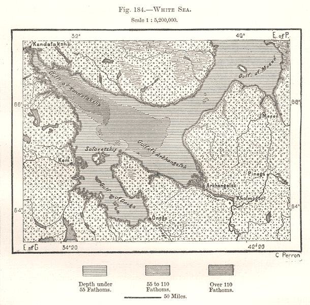 Associate Product White Sea. Arkhangelsk Archangel. Russia. Sketch map 1885 old antique