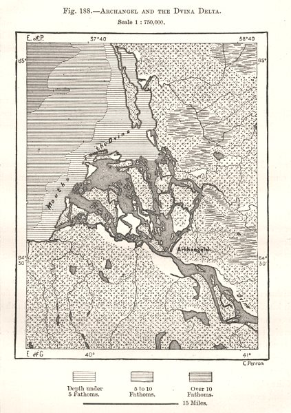 Associate Product Archangel and the Dvina Delta. Arkhangelsk Russia. Sketch map 1885 old