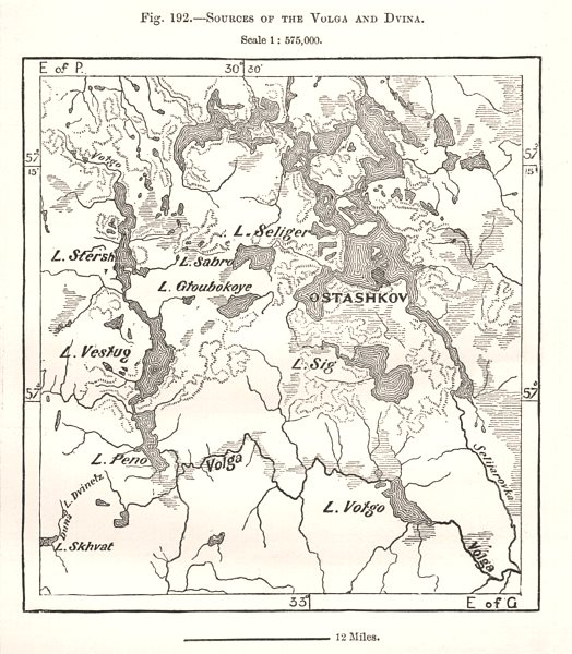 Associate Product Sources of the Volga and Dvina. Ostashkov Russia. Sketch map 1885 old