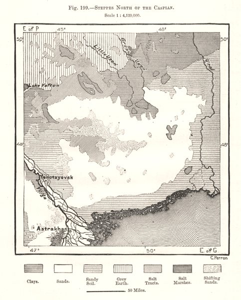 Associate Product Steppes North of the Caspian. Astrakhan Kazakhstan. Sketch map 1885 old