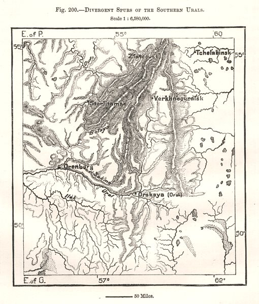 Associate Product Divergent Spurs of the Southern Urals. Orenburg Russia. Sketch map 1885