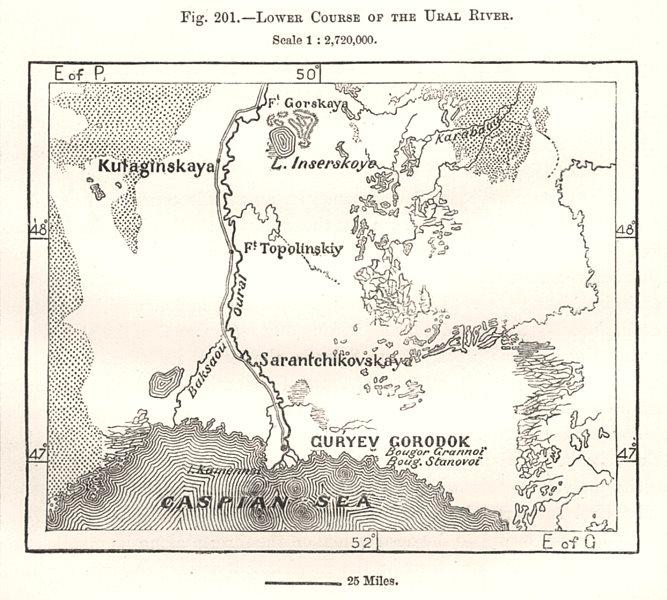 Associate Product Lower Course of the Ural River. Caspian Sea. Kazakhstan. Sketch map 1885