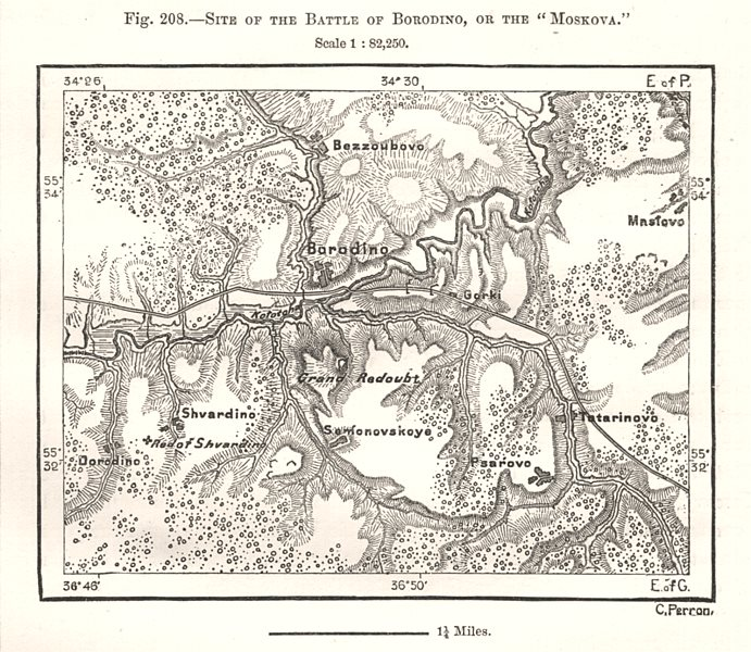 """Associate Product Site of the Battle of Borodino, or the """"Moskova"""". Russia. Sketch map 1885"""
