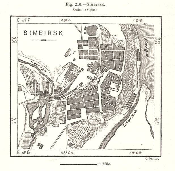 Associate Product Ulyanovsk city town plan. Russia. Sketch map 1885 old antique chart