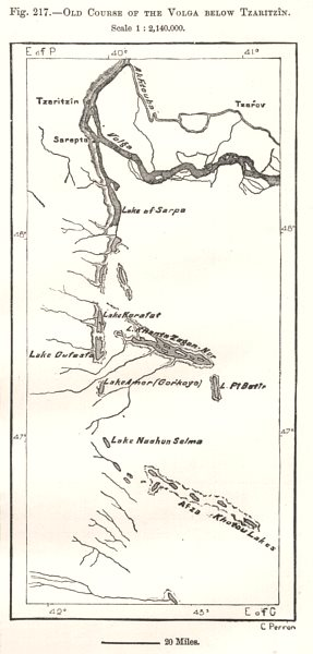Associate Product Old Course of the Volga below Volgograd. Russia. Sketch map 1885