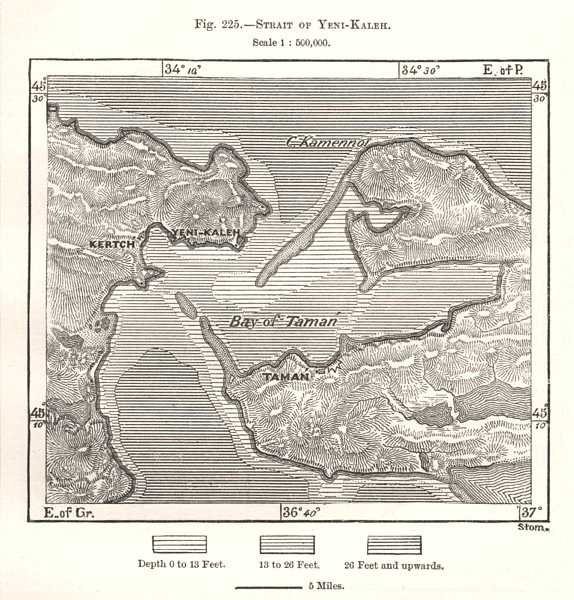 Strait of Kerch. Russia. Sketch map 1885 old antique vintage plan chart