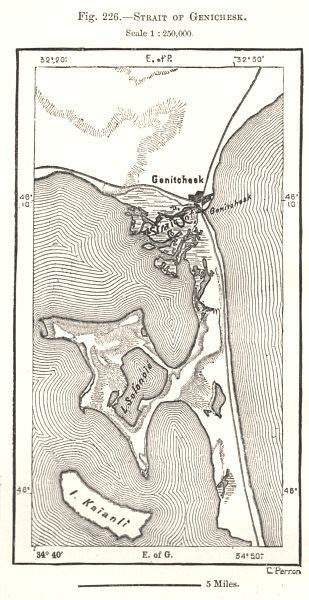 Associate Product Strait of Henichesk. Ukraine. Sketch map 1885 old antique plan chart