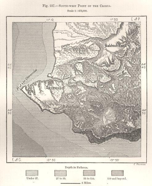 Associate Product South-West Point of the Crimea. Sevastopol. Ukraine. Sketch map 1885 old