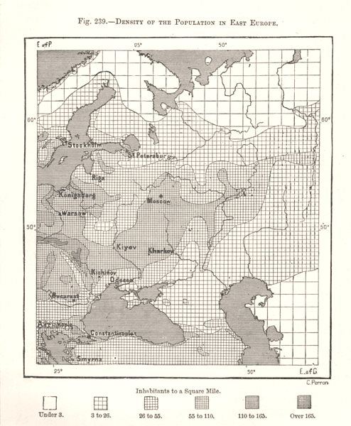 Associate Product Density of the Population in East Europe. Russia. Sketch map 1885 old