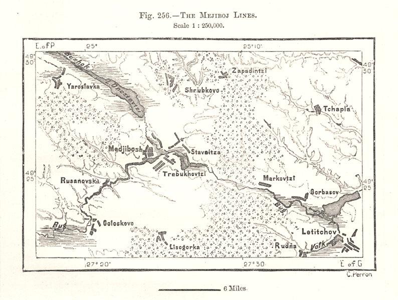 The Medzhybizh Lines. Ukraine. Sketch map 1885 old antique plan chart
