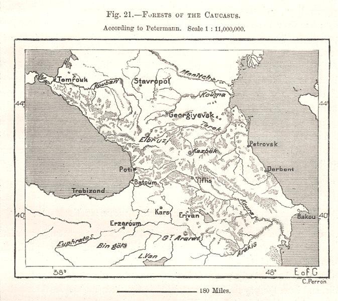 Associate Product Forests of the Caucasus. Georgia Armenia Azerbaijan. Sketch map 1885 old