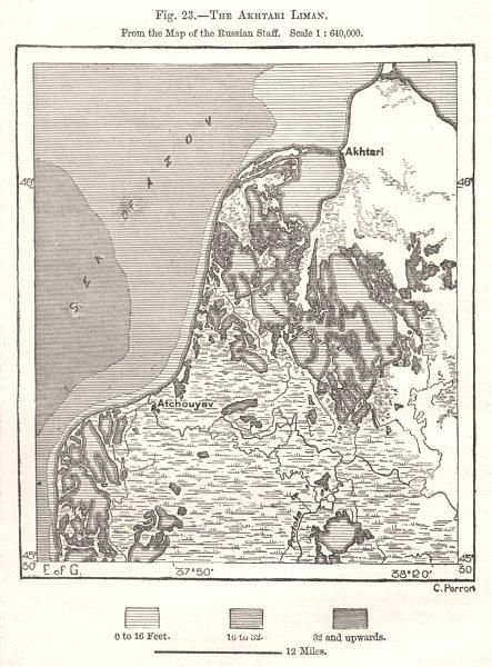 Associate Product The Akhatari Liman. Sea of Azov. Krasnodar. Russia. Sketch map 1885 old
